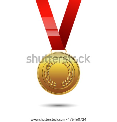 Vector illustration of gold medal with red ribbon. EPS 10.