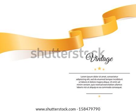 Vector illustration of Gold ribbon - stock vector