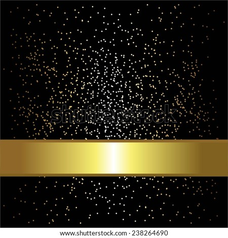 Vector illustration of Gold ribbon. Sparkles on a black background. - stock vector