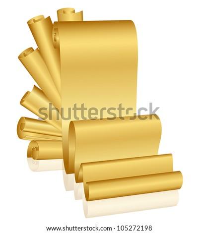 Vector illustration of gold scrolls - stock vector