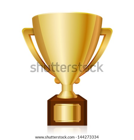 Vector illustration of gold shiny trophy - stock vector