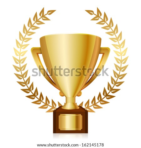Vector illustration of gold shiny trophy and laurels - stock vector