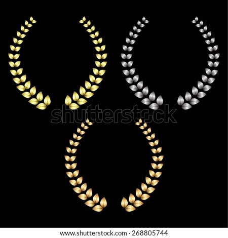 Vector illustration of Gold, silver and bronze laurel wreaths on a black background. - stock vector