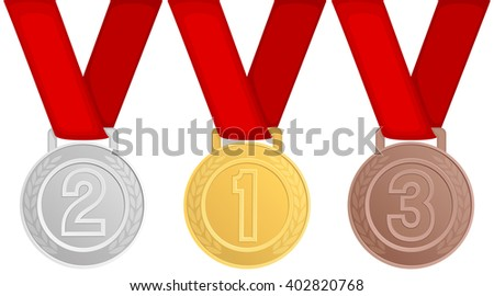 Vector illustration of gold, silver and bronze medals.