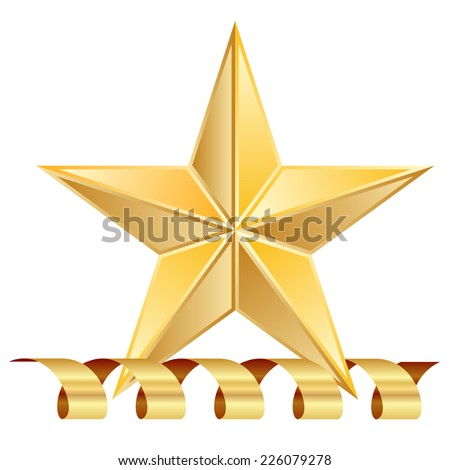 Vector illustration of gold star award with shiny ribbon - stock vector