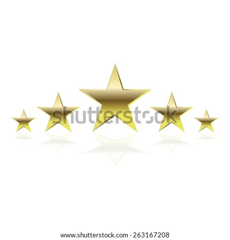 Vector illustration of 5 gold stars with reflection on white background. Superstars. The highest category. Higher quality is guaranteed. - stock vector
