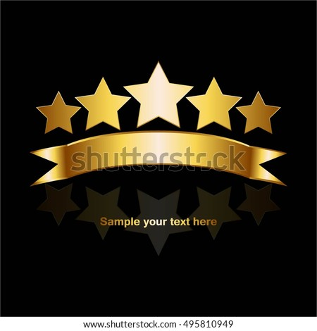 Vector Illustration 5 Gold Stars Reflection Stock Vector ...
