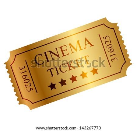 Vector illustration of gold ticket - stock vector