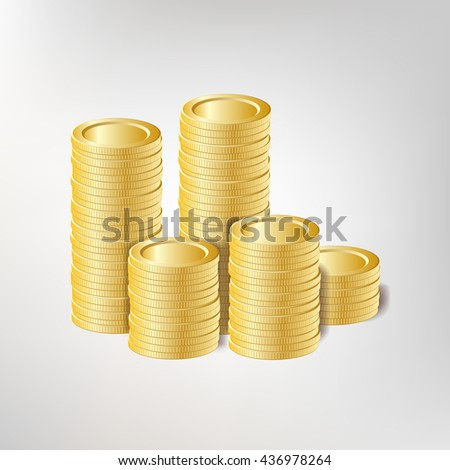 Vector illustration of golden coins. Design element. Easy to edit and use for business banners.