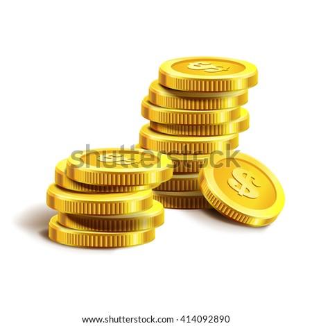 Vector Illustration of golden coins. Golden coins isolated on white. Golden coins vector illustration. Money. Dollar. Gold. Coins. Golden coins vector. Golden coins. Money. Profit. Dollar. Coin - stock vector