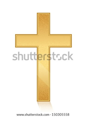 Vector illustration of golden cross - stock vector