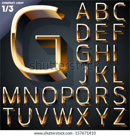 Vector illustration of golden 3D alphabet. Compact Light style. Set 1 - stock vector