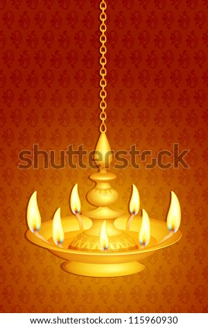 vector illustration of golden diya for Diwali festival ...