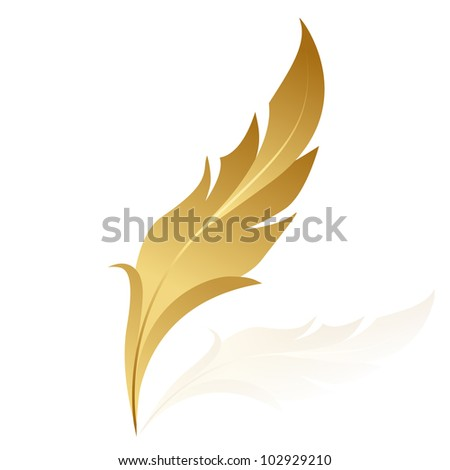 Vector illustration of golden feather - stock vector