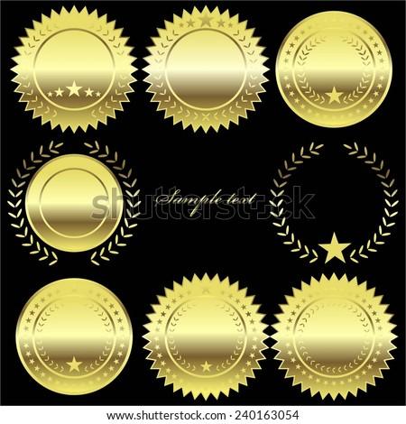 Vector illustration of Golden label, seal, medal.  - stock vector