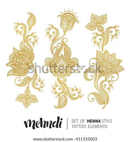 Vector illustration of golden mehndi pattern. Traditional indian style, ornamental floral elements for henna tattoo, golden stickers, flash temporary tattoo, mehndi and yoga design, cards and prints