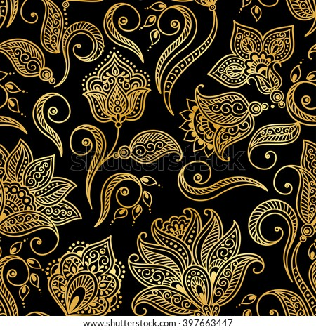 Vector illustration of golden mehndi seamless pattern. Traditional indian style, ornamental floral elements with henna tattoo, golden stickers, mehndi and yoga design, cards and prints
