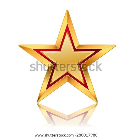 vector illustration of golden star with red frame - stock vector