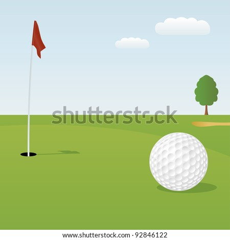 Vector illustration of golf ball on green