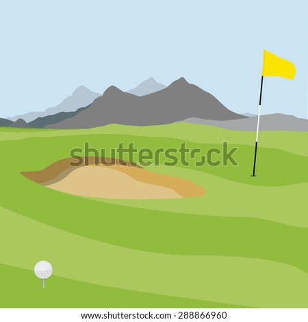 Vector illustration of golf field, ball and flag with mountain landscape. Golf course.