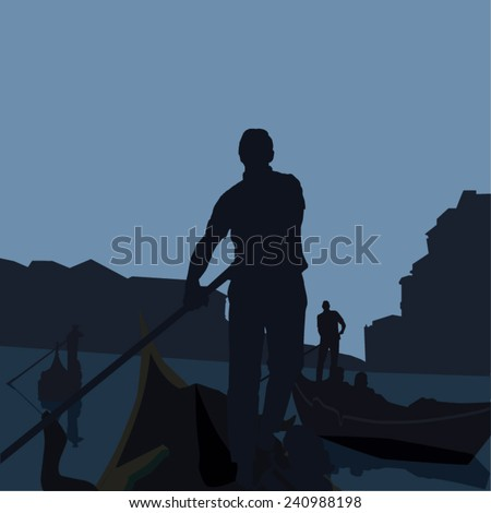 Vector illustration of gondola with gondolier silhouette on Rialto, Venice, Italy - stock vector