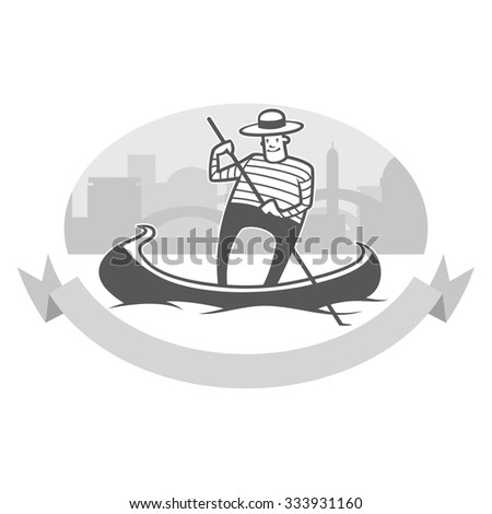 vector illustration of gondola with smiling gondolier - stock vector