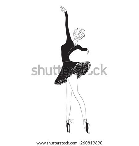 Vector illustration of graceful ballet dancer in tutu skirt on clear/white background, outline, graphic - stock vector