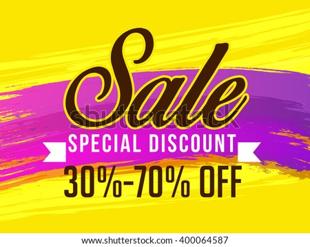 Vector illustration of grand sale banner,flyer or poster with shiny typographical 3d text with grand discount offer.