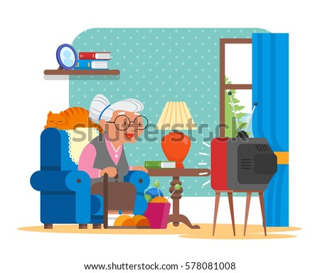 Vector Illustration Of Grandmother Sitting In Armchair And Watching TV Cat Lying Behind Her