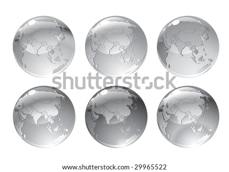 Vector Illustration of gray globe icons with different continents. - stock vector
