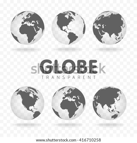 Vector Illustration of gray globe icons with different continents. Transparent background. Realistic shadow. Maps of different countries - stock vector