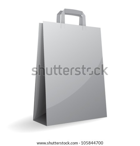 Vector illustration of gray paper bag