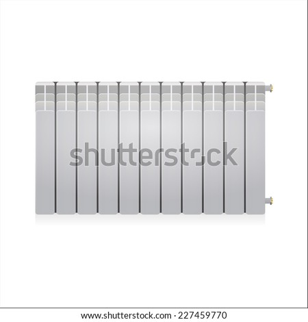 Vector illustration of gray radiator. Single gray water radiator. Isolated vector illustration on white background. - stock vector