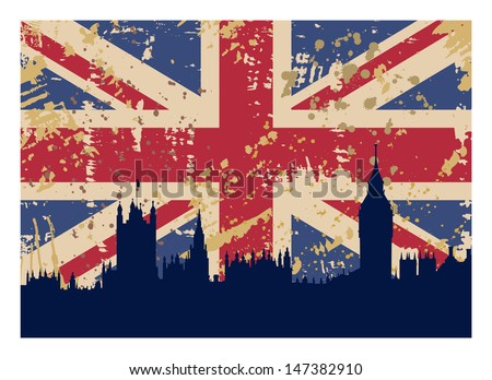 vector illustration of Great Britain's Flag and London silhouette - stock vector
