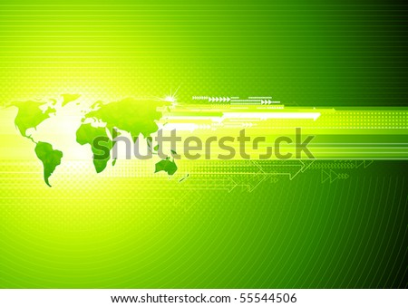 Vector illustration of green abstract hi-tech Background with Glossy world map - stock vector