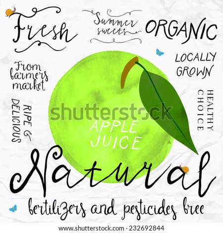 Vector illustration of green apple in imitation of watercolor, hand drawn in in 1950s or 1960s style. Concept for farmers market, organic food, natural product design, soap package, herbal tea, etc. - stock vector