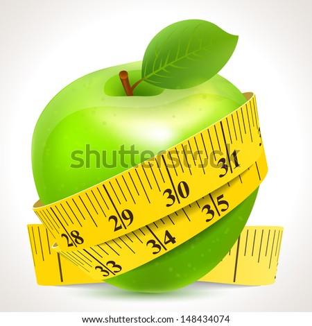 Vector illustration of Green apple with yellow measuring tape - stock vector