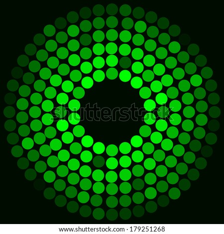 Vector illustration of Green ball on a black background  - stock vector