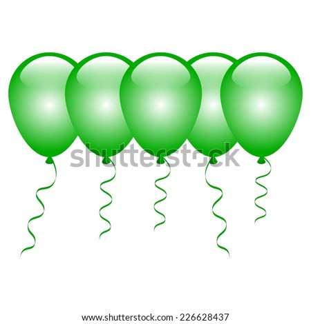 Vector illustration of 5 green balloons on a white background.
