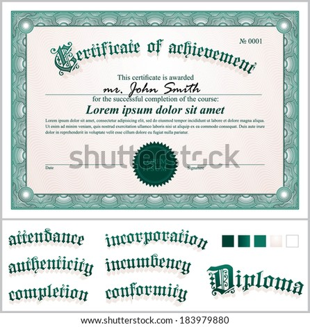 commemorative certificate template - green certificate stock images royalty free images