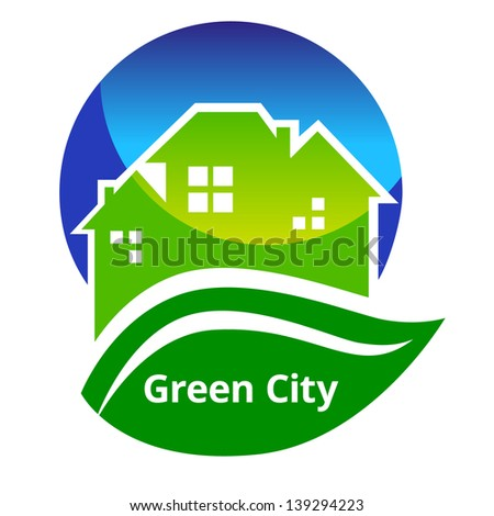 Vector illustration of green city poster.