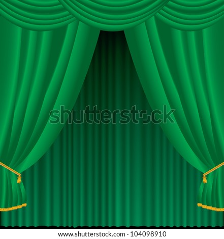Vector illustration of green curtains. - stock vector