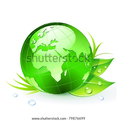 Vector illustration of Green Earth planet (showing Europe and Africa) with leaves and water drops - stock vector