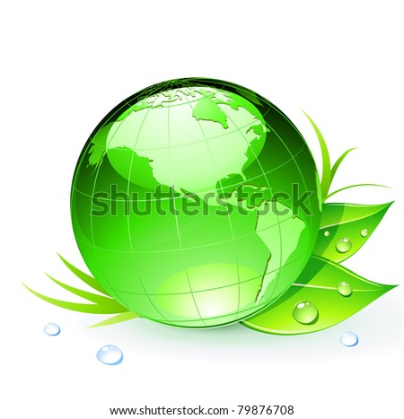 Vector illustration of Green Earth planet with leaves and water drops - stock vector