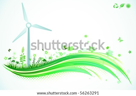 Vector illustration of Green eco Background - stock vector
