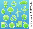 Vector illustration of  green eco  icon set - stock vector