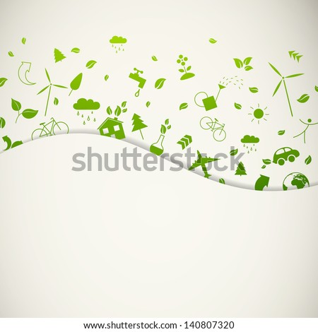 Vector Illustration of Green Ecology Icons - stock vector