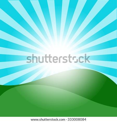 Vector Illustration of Green Fields And Sunrise Sky - stock vector