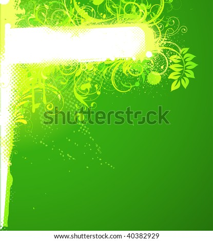 Vector illustration of green funky Grunge futuristic background with shiny floral Decorative banner - stock vector