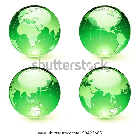 Vector illustration of green Glossy Earth Map Globes different angles - stock vector